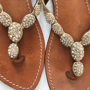Gold, Jewel Encrusted Leather Sandals by Mystique